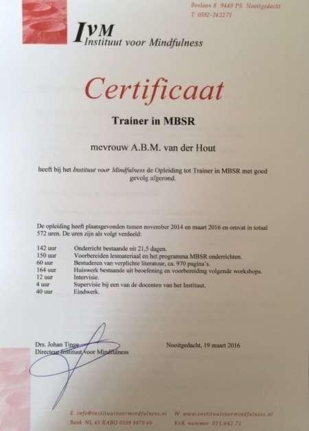MindFulness MBSR trainer certificaat