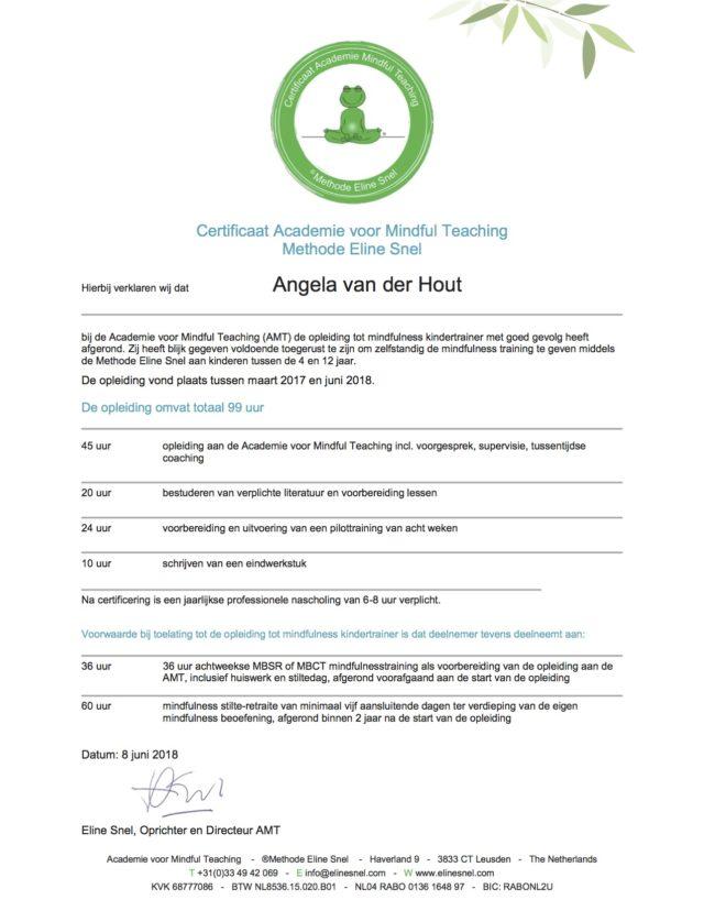 Angela van der Hout.Certificaat AMT Methode Eline Snel Kindertrainer